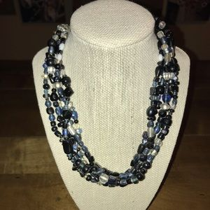 Jewelry - Black/Clear Bead Multi-Strand Necklace